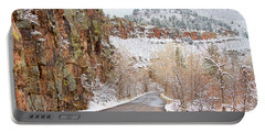 Follow The Red Rock Ridge Winter Road  Portable Battery Charger