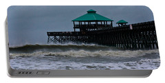 Folly Beach Pier During Sandy Portable Battery Charger