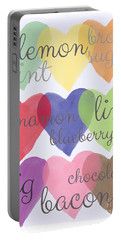 Foodie Love Portable Battery Charger by Linda Woods