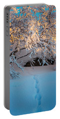 Foot Prints And Trees In The Frozen Portable Battery Charger