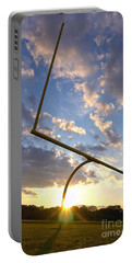 Football Goal At Sunset Portable Battery Charger