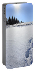 Footprints In The Snow Portable Battery Charger by Penny Meyers