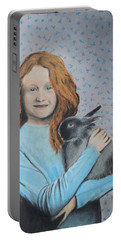 Portable Battery Charger featuring the painting For The Love Of Bunny by Jeanne Fischer