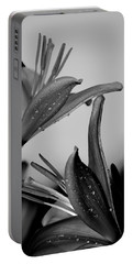 For The Love Of Lillies Bw Portable Battery Charger by Lesa Fine