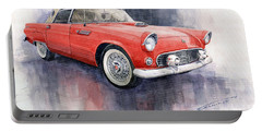 Ford Thunderbird 1955 Red Portable Battery Charger