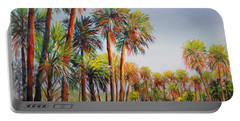 Portable Battery Charger featuring the painting Forest Of Palms by Lou Ann Bagnall