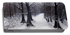 Portable Battery Charger featuring the painting Forest Path In Winter by Judy Kirouac
