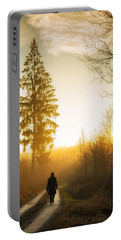 Forest Path Into The Warm Orange Sunset Portable Battery Charger