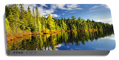 Forest Reflecting In Lake Portable Battery Charger