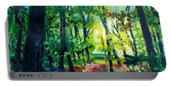 Portable Battery Charger featuring the painting Forest Scene 1 by Kathy Braud