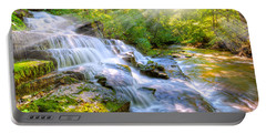 Forest Stream And Waterfall Portable Battery Charger by Alexey Stiop