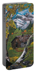 Portable Battery Charger featuring the painting Forgotten Cabin  by Sharon Duguay