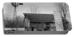Forgotten Farm In Black And White Portable Battery Charger by Judy Whitton