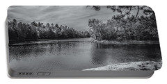 Fork In River Bw Portable Battery Charger by Mark Myhaver
