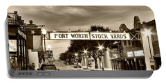 Fort Worth Stock Yards In Sepia Portable Battery Charger