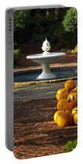 Portable Battery Charger featuring the photograph Fountain And Pumpkins At The Elizabethan Gardens by Greg Reed