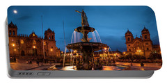 Fountain At La Catedral, Plaza De Portable Battery Charger
