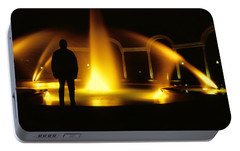Portable Battery Charger featuring the photograph Fountain Silhouette by Jason Politte