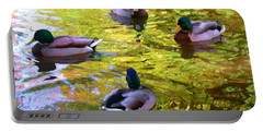 Four Ducks On Pond Portable Battery Charger