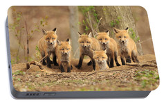 Fox Family Portrait Portable Battery Charger by Everet Regal