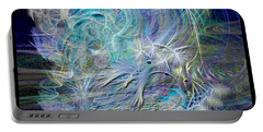 Fractal Feathers Blue Portable Battery Charger