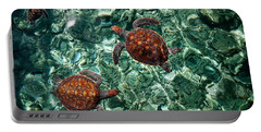 Fragile Underwater World. Sea Turtles In A Crystal Water. Maldives Portable Battery Charger by Jenny Rainbow