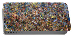 Portable Battery Charger featuring the painting Fragmented Fall by James W Johnson