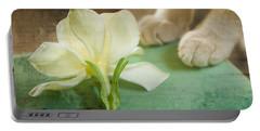 Fragrant Gardenia Portable Battery Charger by Kim Henderson