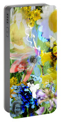 Portable Battery Charger featuring the digital art Framed In Flowers by Cathy Anderson