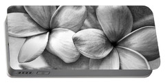 Portable Battery Charger featuring the photograph Frangipani In Black And White by Peggy Hughes