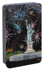 Portable Battery Charger featuring the painting Freedom by Judith Rhue