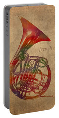 French Horn Brass Instrument Watercolor Portrait On Worn Canvas Portable Battery Charger