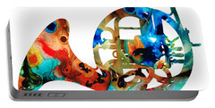 French Horn - Colorful Music By Sharon Cummings Portable Battery Charger by Sharon Cummings