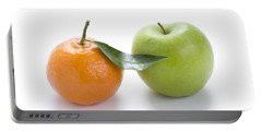 Portable Battery Charger featuring the photograph Fresh Apple And Orange On White by Lee Avison