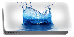 Fresh Clean Water Splash In Blue Portable Battery Charger