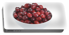 Portable Battery Charger featuring the photograph Fresh Cranberries In A White Bowl by Lee Avison