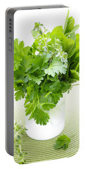 Fresh Herbs In A Glass Portable Battery Charger