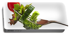 Fresh Vegetables On A Fork Portable Battery Charger
