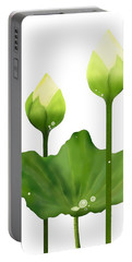 Fresh White Lotus Flowers And Leaf On White Background Portable Battery Charger