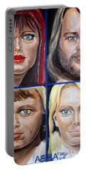 Portable Battery Charger featuring the painting Frida Benny Bjorn Agnetha by Daniel Janda