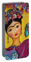 Portable Battery Charger featuring the painting Frida Kahlo And Her Cat by Pristine Cartera Turkus