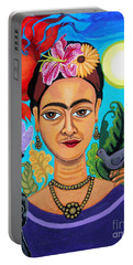 Frida Kahlo With Monkey And Bird Portable Battery Charger by Genevieve Esson