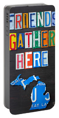 Friends Gather Here Recycled License Plate Art Lettering Sign Michigan Version Portable Battery Charger by Design Turnpike