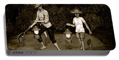 Frog Hunters Black And White Photograph Version Portable Battery Charger
