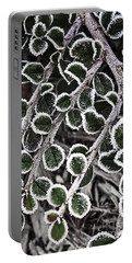 Frost On Plant Branch In Late Fall Portable Battery Charger
