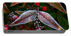 Frosted Nandina Leaves Portable Battery Charger