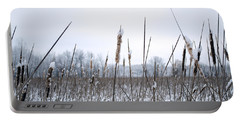Frosty Cattails Portable Battery Charger