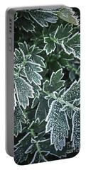Frosty Leaves In Late Fall Portable Battery Charger
