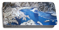 Portable Battery Charger featuring the painting Frosty Morning by Sharon Duguay