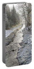 Portable Battery Charger featuring the painting Frozen Air by Felicia Tica